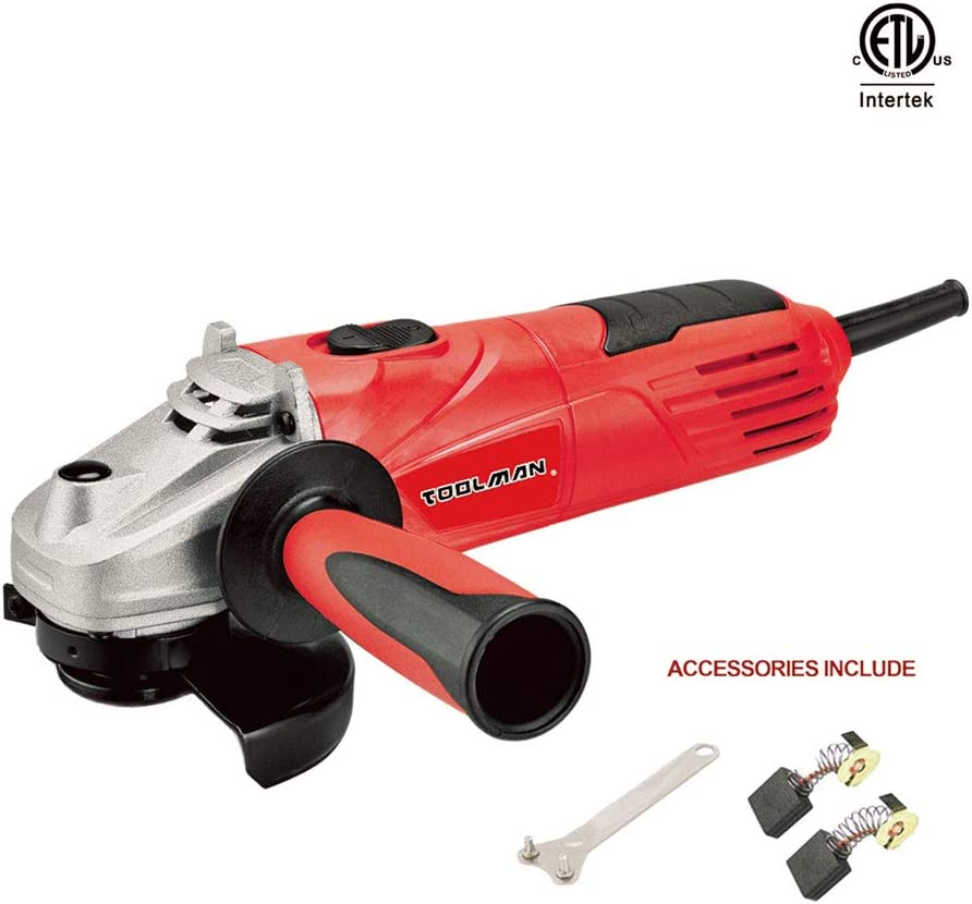 Toolman Electric Angle Grinder Disc Side Grinder 4-1 2 4.8 Amps speed 11500BPM for cutting grinding metal or stone works with DeWalt Makita Accessories