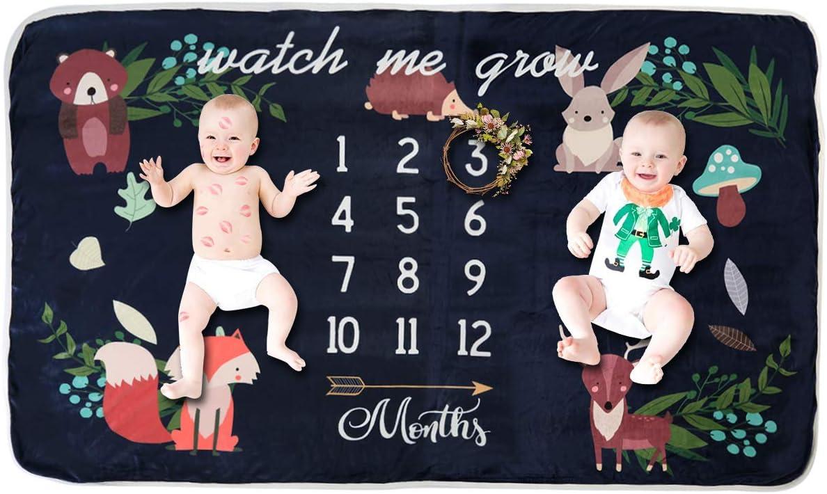 Manta mensual para bebé, manta de fotografía para bebés (para gemelos)