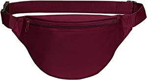 Fanny pack, BuyAgain Unisex 2 Zipper Quick Release Buckle Travel Sport Running Waist Fanny Pack - Burgundy