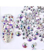 ICYCHEER Nail Art Rhinestones 2mm-6mm Resin Crystal AB Round Flat Bottom Gems,Mix Shape,Gemstones,300 piece,3D Nail Diamond Decoration Manicure (02)