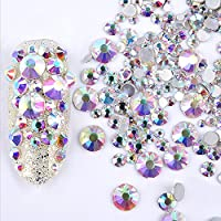 ICYCHEER GREAT MIXED DIY SIZE GLITTER RHINESTONES CHARM 3D NAIL ART DECOR ACCESSORIES-AB Color-300pcs