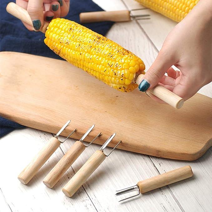 BESTONZON Horquilla para maíz, Brochetas de espiga de maíz, Porta de mazorca de maíz de acero inoxidable Aguja de acero inoxidable Accesorios para barbacoa ...
