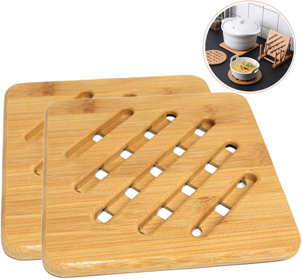 YOFASEN Bamboo Trivet for Hot Pans Home Kitchen Hot Pads Trivet Heat Proof Mat Worktop Protection 18x18x1CM Round