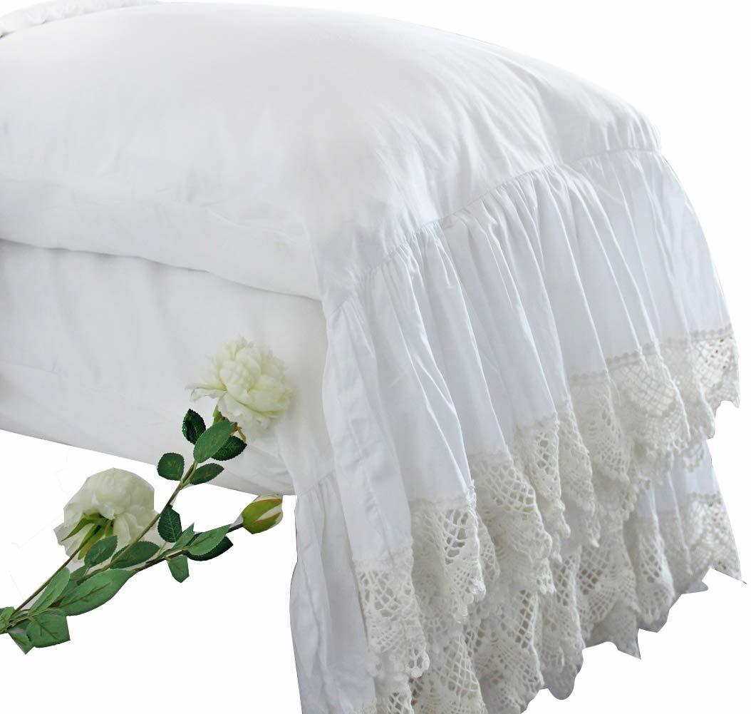 Queen's House White Pillowcases Vintage Farmhouse Crochet Pillow Cover King Shams Set of 2-Style F