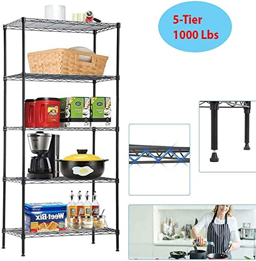 5-Tier 1000 Lbs Heavy Duty Steel Wire Shelving Unit Adjustable Metal Shelf Rack Kitchen Storage Organizer Perfect for Kitchen, Garage, Bathroom, Living Room, Office and More. Black