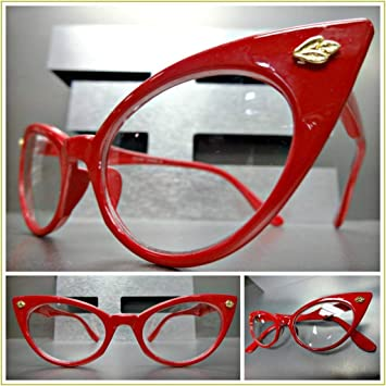 e01e41a97a9f Image Unavailable. Image not available for. Color: Classic Vintage 60s  Retro CAT Eye Style Clear Lens Eye Glasses ...
