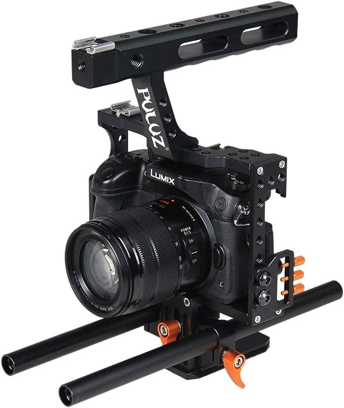 PULUZ Cámara de vídeo de la jaula de mano de aluminio Estabilizador de aleación de aluminio Steadicam Estabilizador de película de película Steadicam Kit de realización de películas para Panasonic G7