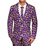 NCAA College Team Mens Repeat Logo Ugly Business Suit - Jacket Tie Pants (LSU Tigers , XXL 50)