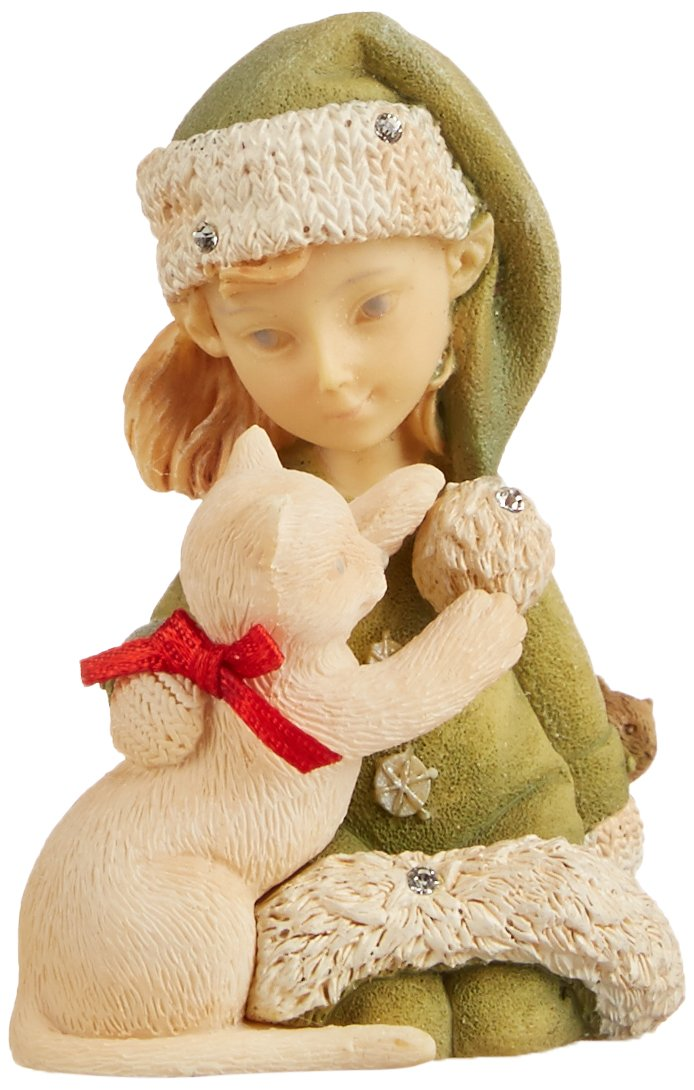 Enesco Heart of Christmas Elf with Kitty Figurine, 2.56-Inch