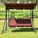 T-foot Outdoor Patio Swing Canopy 3 Person Awning Yard Furniture Hammock Steel (Coffee)