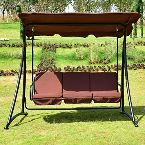 Buy Now  sc 1 st  Knock Knock & T-foot Outdoor Patio Swing Canopy 3 Person Awning Yard Furniture ...