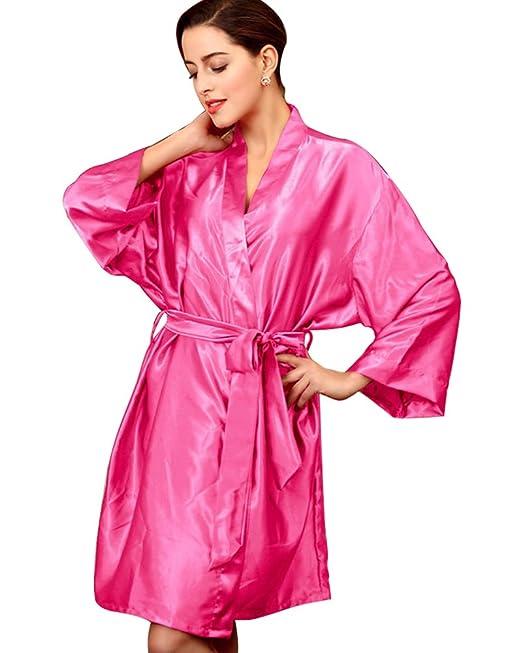 SaiDeng Mujeres Kimono Satén Seda Elegantes Suaves Batas De Baño Ropa De Dormir Albornoces Camisón Pijamas Rose: Amazon.es: Ropa y accesorios