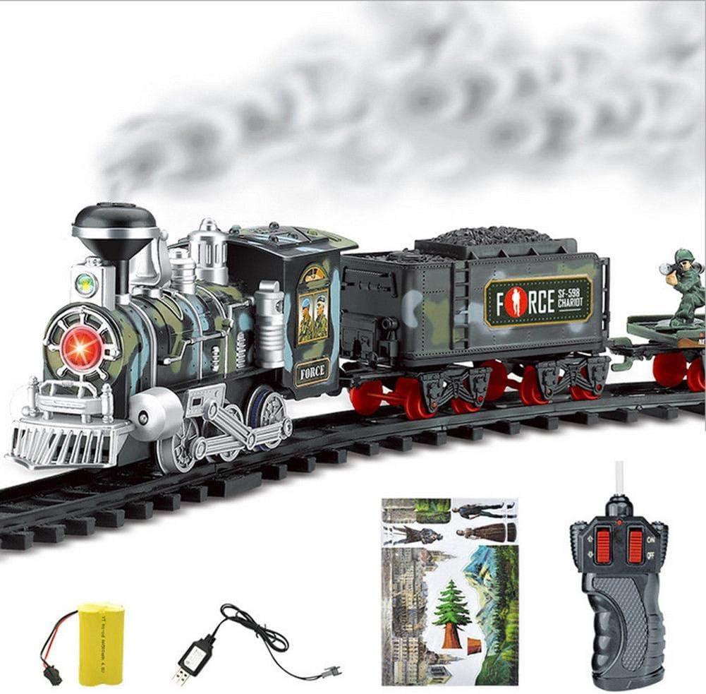 ZMH Classique /Électrique Dynamique Vapeur RC Piste Train Ensemble Simulation Mod/èle Jouet pour Enfants Rechargeable Enfants T/él/écommande Jouet,3
