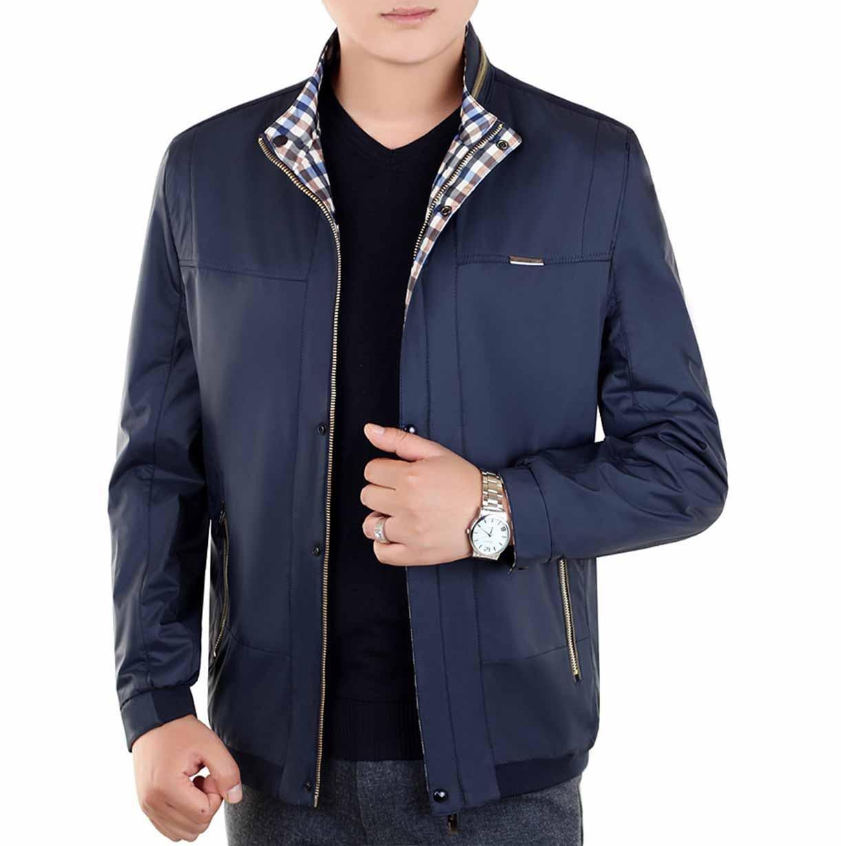 XD-Moda masculina otoño chaquetas finas y papá usar collar ...