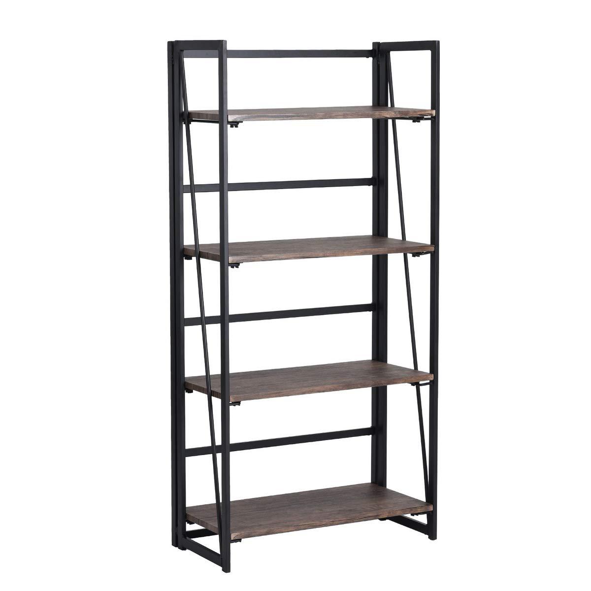 HomyCasa 4-Tier Bookshelf,Industrial Folding Ladder Bookshelf,Portable Bookcase,Home Office Wood Storage Shelves with Sturdy Metal Frame,Brown