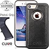 iPhone 7 Case, CUVR® Genuine Leather [Jet Black] Cover With a Durable Knurled Bumper for The Best Grip for Your New 2016 Apple iPhone 7 (Jet Black).