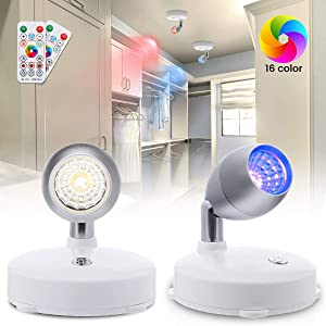 Elfeland RGB LED Spotlight LED Closet Lights with Remote, Dimmable Battery Operated Accent Lights with Rotatable Light Head Stick on Anywhere for Lighting up Painting Picture Artwork Closet (2 Pack)