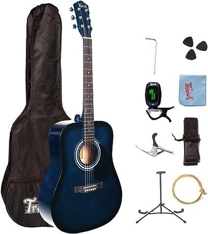 Trendy - Guitarra acústica de estilo Dreadnought con 6 cuerdas de acero, de 104 cm, para principiantes: Amazon.es: Instrumentos musicales