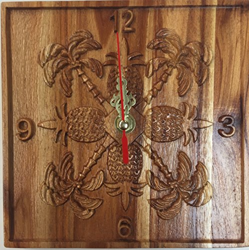 (Koa Wooden Clock Hand Carved Hawaiian Pineapple Design.)