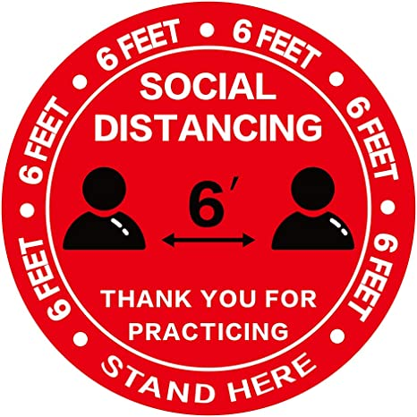 "Qty 6 Social Distancing Floor Wall Red 9/"" DecalSticker"