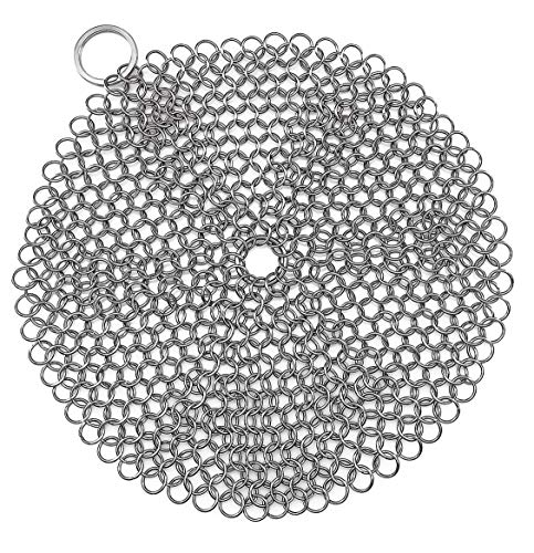FENFEN Stainless Steel Cast Iron Skillet Cleaner Chainmail C