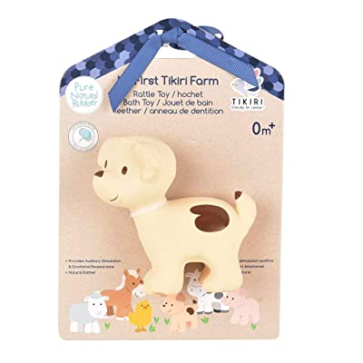 Tikiri My First Farm Puppy Natural Rubber Rattle (Brown): Toys & Games