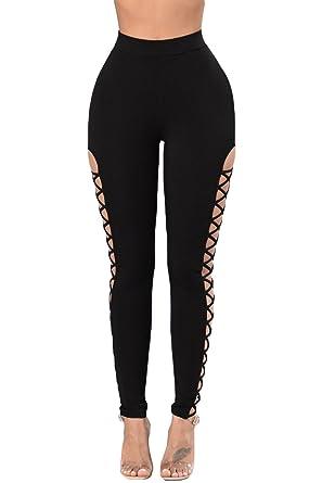 75246c492 Beauty Decor Women Black Lace Up High Waist Sport Legging Workout Yoga  Pants at Amazon Women s Clothing store