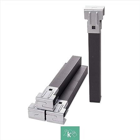 Dreaming Kamahaus Pack 4 Patas metálicas cuadradas de somier 30x30mm | Altura 27cm | con Abrazaderas