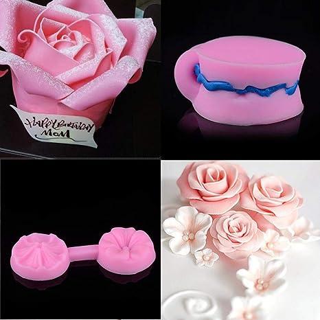 Jaminy - Molde de silicona para repostería, diseño de rosas 3D, para hacer tartas