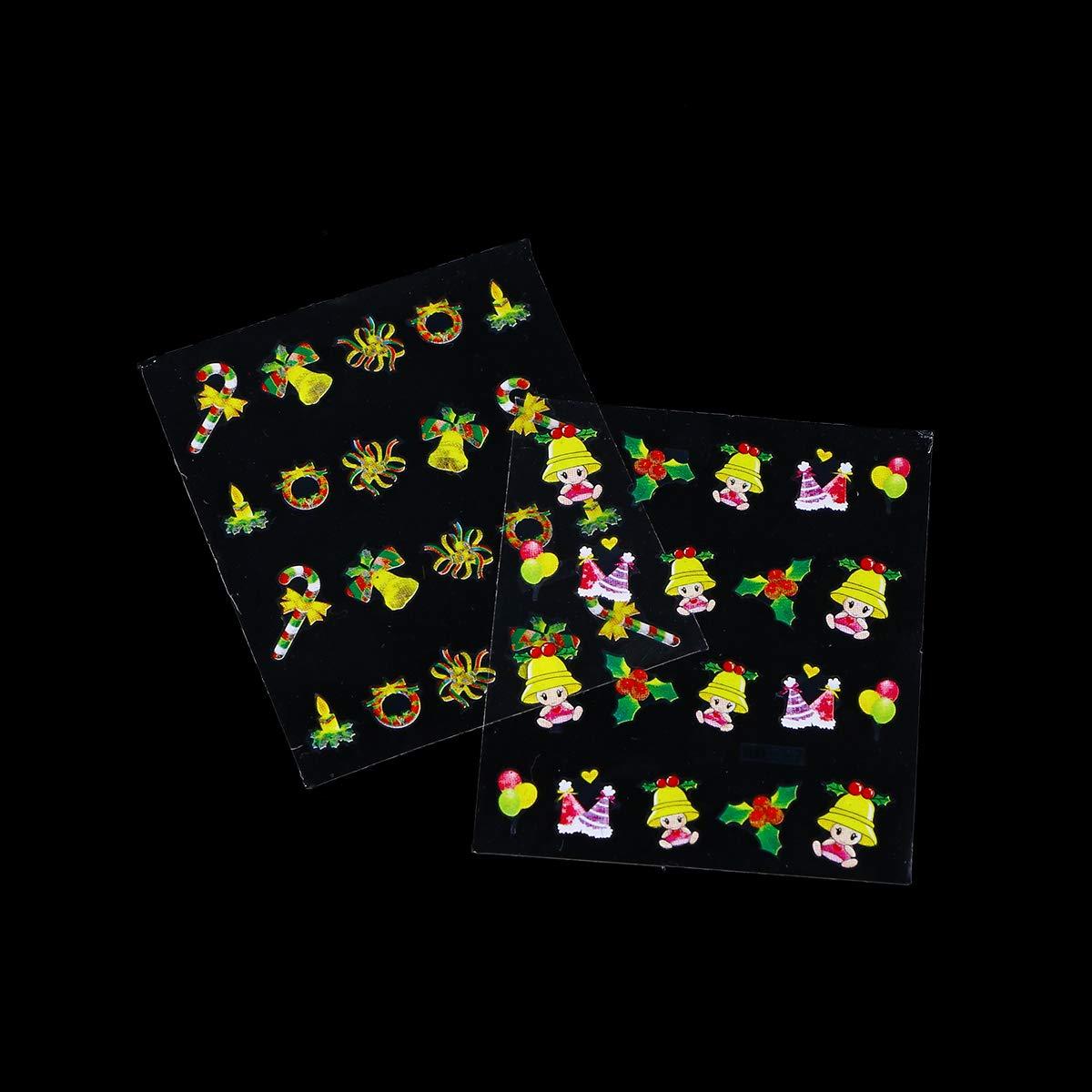 BESTOYARD Pegatinas de uñas de Navidad Arte de uñas 3D Tatuajes de manicura Decoraciones de uñas para Mujeres niñas 12 Hojas: Amazon.es: Hogar