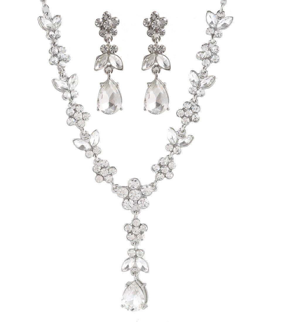 NLCAC Luxurious Gold Crystal Pearl Bead Wedding Jewelry Set for Women Necklace and Earrings Set Bride (butterfly silver)