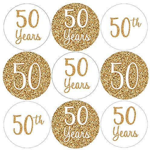Gold 50th Anniversary Party Favor Stickers | 180 Count ()
