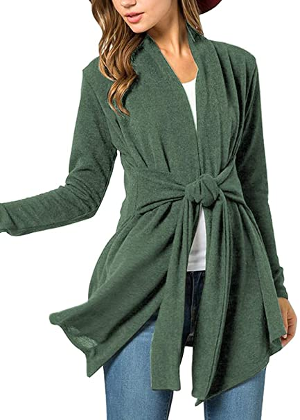 e34902c1c6 Women Cotton Open Front Casual Kimono Long Sleeve Fuzzy Tie Waist Cardigan  Forest Green S
