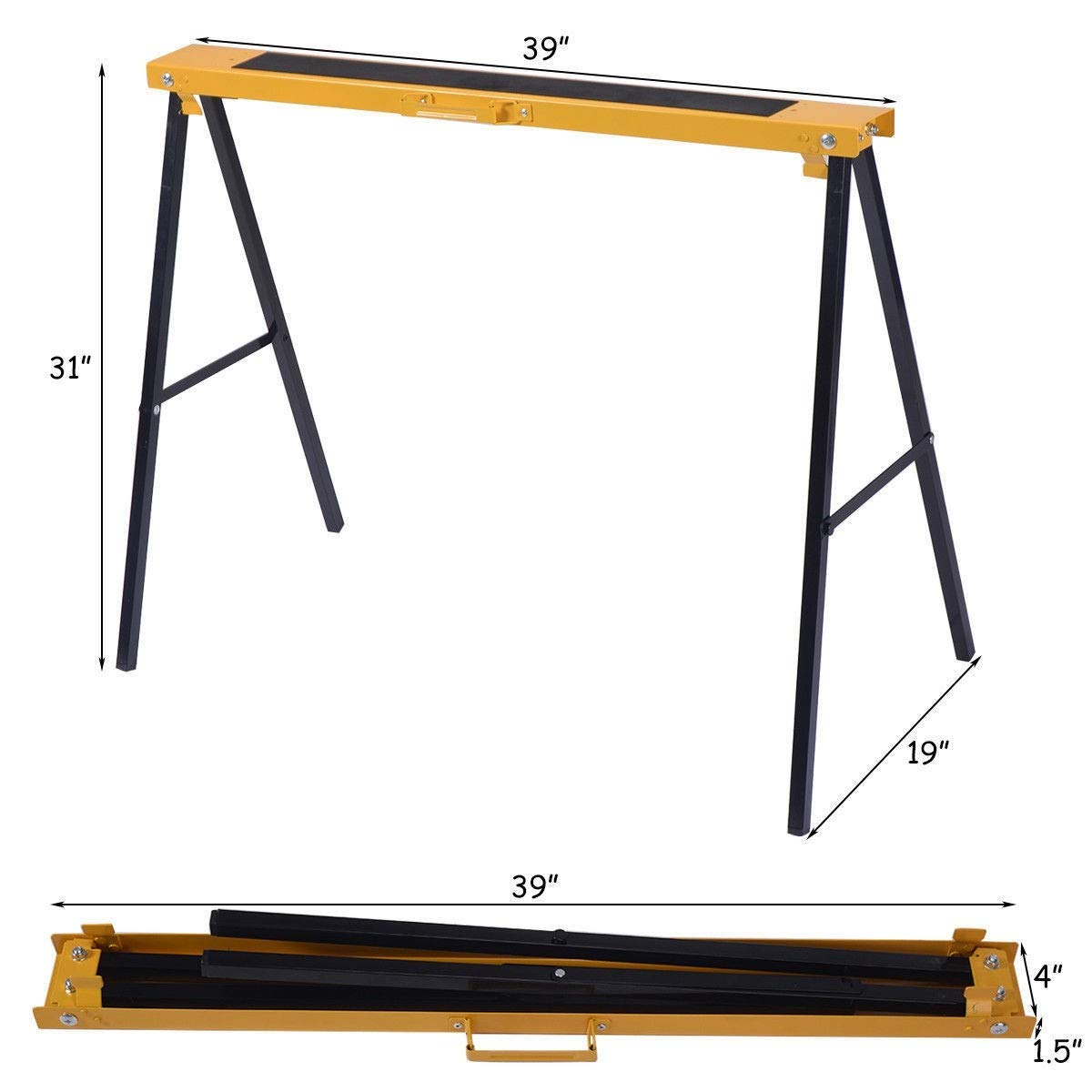 Sawhorse Heavy Duty Folding 2 Pack Steel Portable Saw Horse Legs Pair Workshop MD Group by MD Group (Image #8)