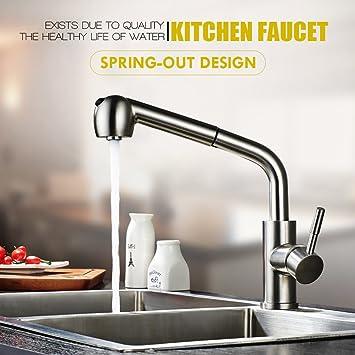 Auralum Matt 304 Edelstahl Ausziehbar Wasserhahn Kuche Kuchenarmatur