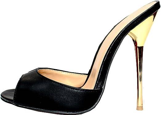 A10 Womens Supper High Heeled 5.3IN Nightclub Party Cross Dressing Overside US9-19 Stainless Steel Heel Slide PU Sandals
