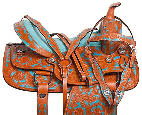 """Leather Western Show Saddle (14"""" 15"""" 16"""" TURQUOISE BLUE WESTERN LEATHER BARREL RACER SHOW RODEO HORSE SADDLE TACK SET (14))"""