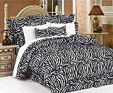 zebra comforter full size - Legacy Decor Beautiful 7 Pc Black and White Zebra Print Faux Fur, Full Size Comforter Bedding Set