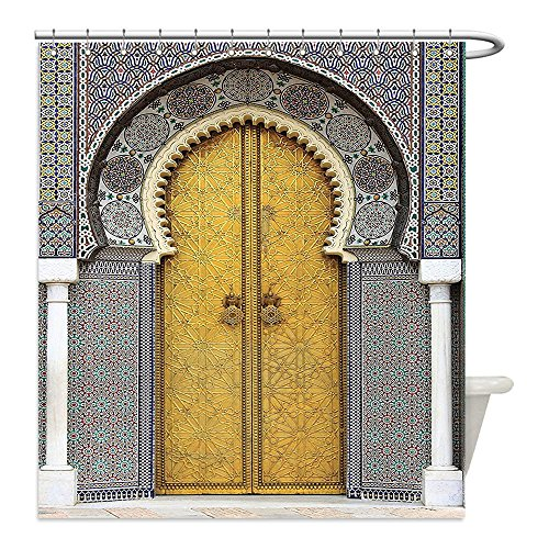 Liguo88 Custom Waterproof Bathroom Shower Curtain Polyester Arabian Decor Collection Golden Door of Royal Palace in Fes Morocco Vintage Moroccan Artwork Picture Navy Ivory () Decorative bathroom by liguo88