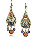 Elakaka Retro Bohemian Droplets Color Dress Earrings