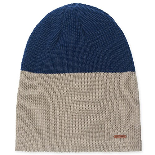 LETHMIK Duotone Knit Beanie Cap Unisex Acrylic Winter Hat With Warm Polar Fleece Lining Beige & Navy Acrylic Skull Hat