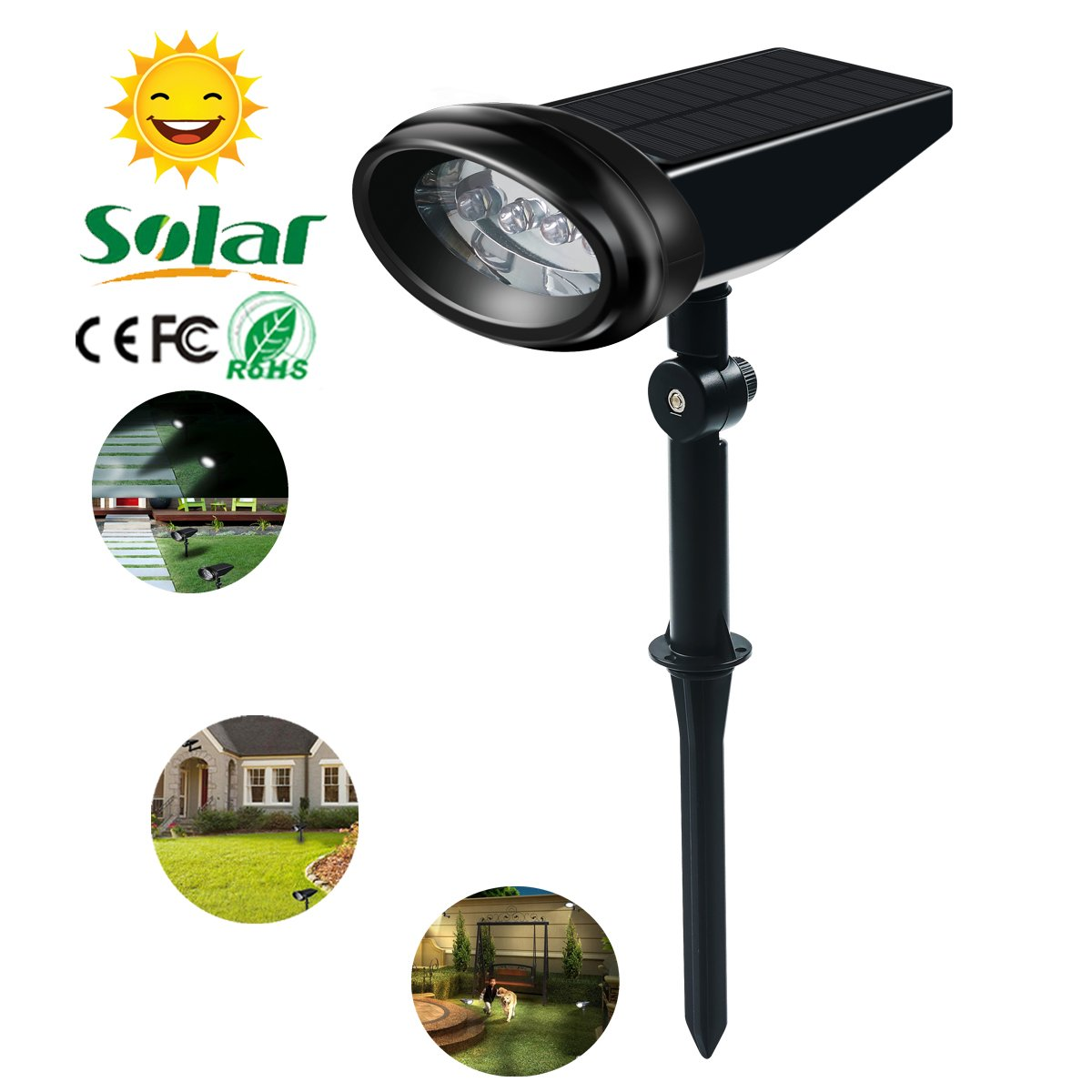 Solar LED Spotlight 2-in-1 Waterproof 4 LED Solar Landscape Lights Dusk to Dawn Outdoor Solar Spotlight Auto On/Off Night Light for Patio, Driveway, Yard, Garden by LUXON