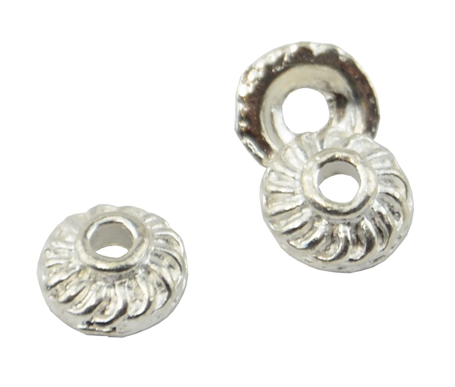 37887-155 20 Large Flower Bead Cap 16mm Silver Plated Jewellery Finding