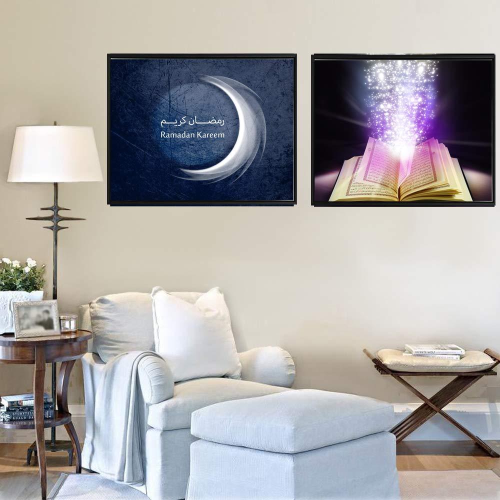 Islam Mosqu/ée Coran Toile Posters Et Gravures Pour La D/écoration Int/érieure Calligraphie Musulman Affiches Murales Unfrmaed Cuadros Home Decor Image 60 60cm