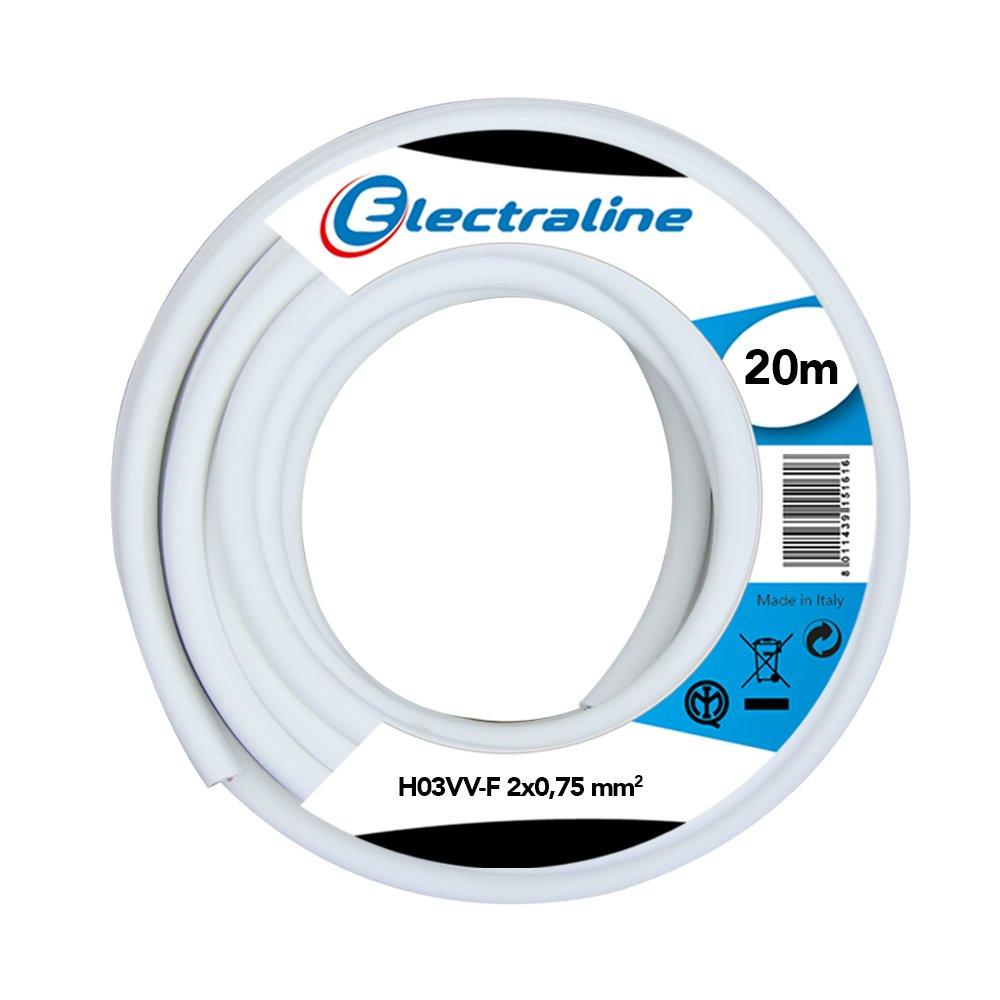 20 m Electraline 11165 Cable para Extensiones H03VV-F Negro Secci/ón 2x0,75 mm