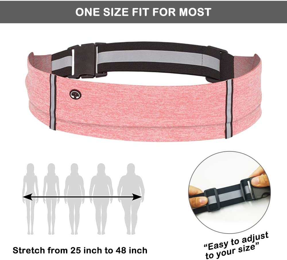 Slim Running Belt Waist Pack Ultra Light Running Fanny Pack for Women /& Men Adjustable Running Phone Holder for Running Hiking Workouts Cycling Travelling Pink