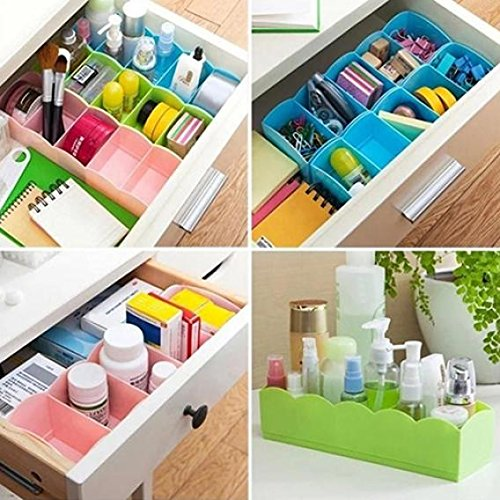 5-Grid Plastic Storage Box Closet Dresser Drawer Divider Basket Bins Cosmetic Organizer for Underwear, Bras, Socks, Ties, Scarves (Blue) by Baost (Image #2)