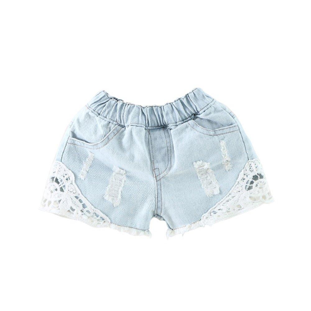 Kids Girls Denim Shorts, Baywell Lace Ripped Denim Pants Kids Stretchy Hot Pants