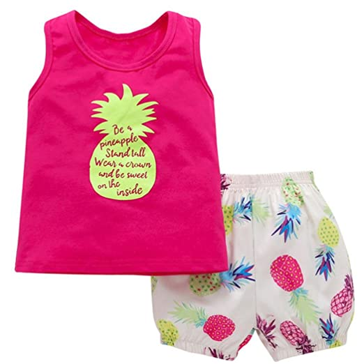 cd460fcfa54a Moonker Toddler Baby Girls Summer Clothes Pineapple T-Shirt Top +Shorts  Outfit 2pcs Set