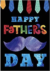 """Morigins Happy Father's Day Garden Flag Double Sided Colorful Tie and Mustache Yard Outdoor Decoration 12.5""""x18"""